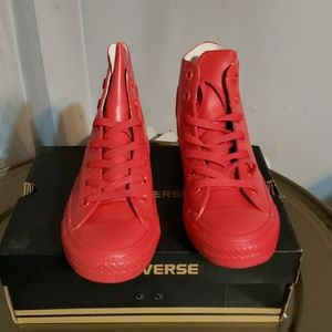Red Rubber Converse Chuck Taylor Hi Waterproof NWT
